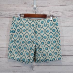 Loft the Riviera short linen teal embroidered